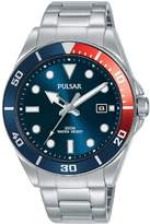 Pulsar Pulsar Blue Sunray and Red Detail Date Dial Stainless Steel Bracelet Mens Watch