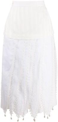 Loewe High-Rise Lace-Trim Maxi Skirt