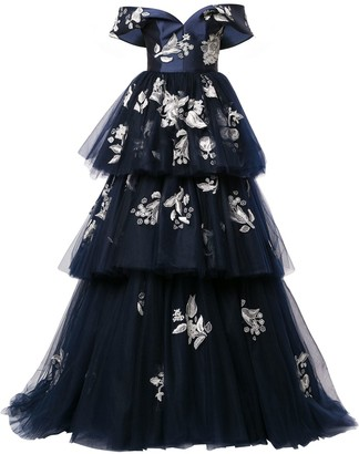 Carolina Herrera Tiered Floral-Lace Gown