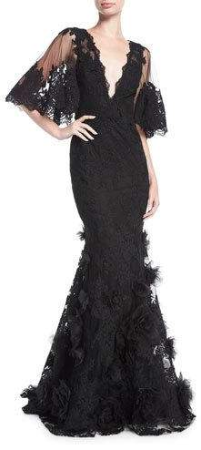 Marchesa Floral Lace Flutter-Sleeve Gown