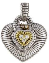 Judith Ripka Two Tone Diamond Heart Pendant