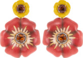 Silvia Furmanovich Sculptural Botanical Marquetry Flower Earrings