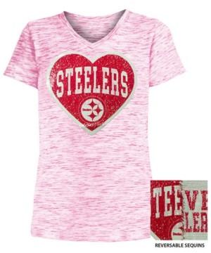 5th & Ocean Big Girls Pittsburgh Steelers Heart Flip Sequin T-Shirt