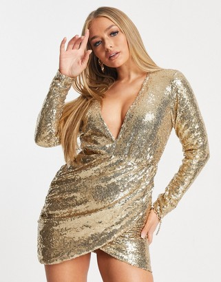 Club L London Club L sequin mini dress with plunge front and wrap skirt in gold