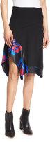 DKNY Floral-Trim A-Line Skirt, Black
