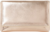 Dune Reptile-effect metallic clutch bag
