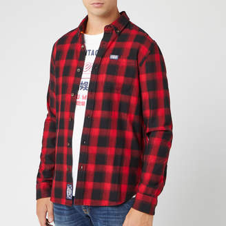 Superdry Men's Workwear Long Sleeve Shirt - Red Check - S