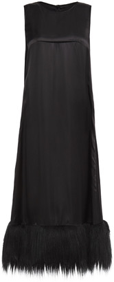 MM6 MAISON MARGIELA Faux Fur-trimmed Satin Midi Dress