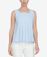 CeCe Cotton Pinstriped Pleated Top