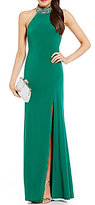 B. Darlin Jeweled Mock Neck Long Dress