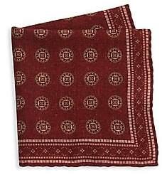 Brunello Cucinelli Men's Tapestry Print Wool Pocket Square