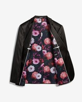 Express Slim Sateen Floral Lined Tuxedo Jacket