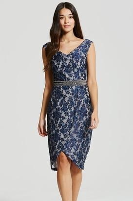 Little Mistress Navy Lace Embellished Waist Bodycon Dress