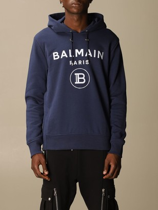 Balmain Cotton Sweatshirt With Hood And Logo Print