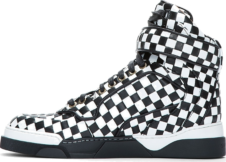 Givenchy White & Black Woven Leather Check Sneakers