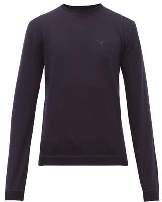Prada Logo Embroidered Wool Blend Sweater - Mens - Blue