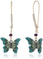 """Betsey Johnson You Give Me Butterflies"""" Pave Butterfly Long Drop Earring"""