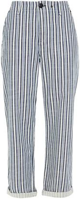 Rag & Bone Cropped Striped Cotton-blend Twill Straight-leg Pants