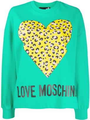 Love Moschino leopard print heart print sweatshirt