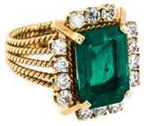 Ring 18K Emerald & Diamond Cocktail