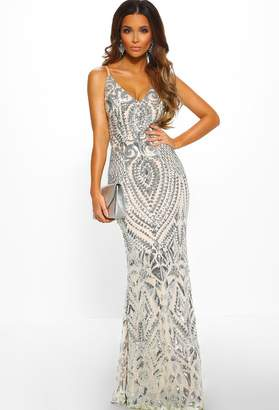 Pink Boutique Diamond Nights Silver Limited Edition Sequin Maxi Dress