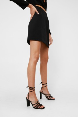Nasty Gal Womens Faux Leather Heeled Tie Sandals - Black - 5, Black