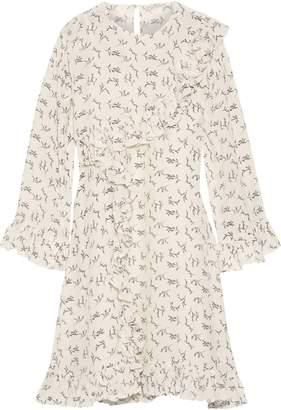 Mes Demoiselles Frimeuse Ruffled Printed Silk Crepe De Chine Mini Dress