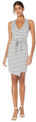 BB Dakota Ponte Stripe Wrap Dress (White) Women's Dress