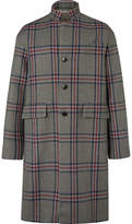 Valentino Oversized Checked Wool-tweed Coat - Navy