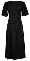 Dorothy Perkins Womens Black Spot Print Angel Sleeve Midi Dress, Black