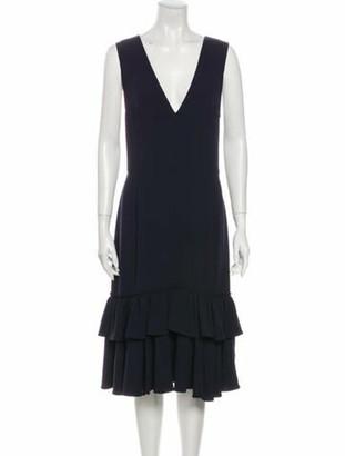 Tome V-Neck Midi Length Dress w/ Tags Blue
