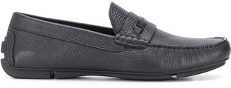 Emporio Armani Textured Logo-Plaque Loafers