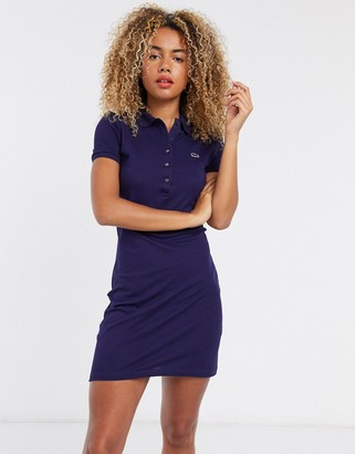 Lacoste button front polo mini dress in blue