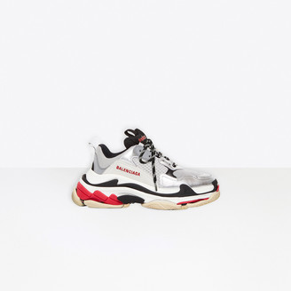 Balenciaga Triple S in red, silver and white leather and double foam and mesh