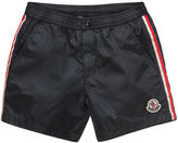 Moncler Striped Snap-Front Swim Trunks, Size 8-14
