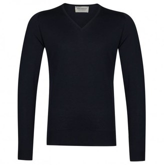 John Smedley Midnight 100 Wool Blenheim V Neck Pullover - XL / Midnight - Black
