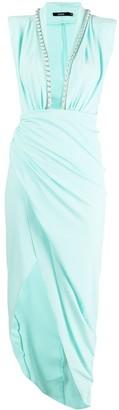 Amen Plunging Neck Asymmetric Dress