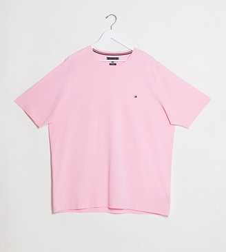 Tommy Hilfiger Big and Tall icon logo stretch slim fit t-shirt in pink