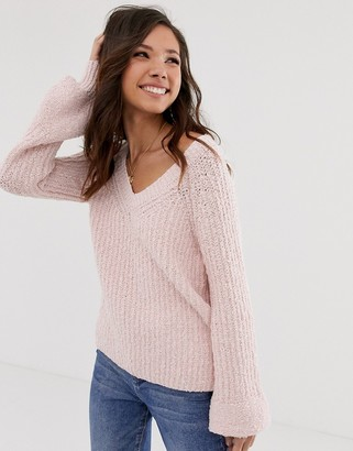 Abercrombie & Fitch chenille bell sleeve knit jumper-Pink