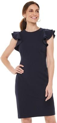 Chaps Women's Flutter Sleeve Sheath Dress