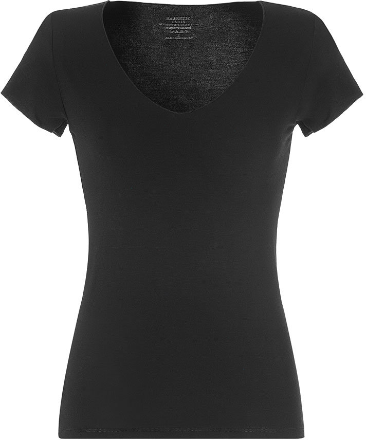 Majestic Black S/S V-Neck T-Shirt