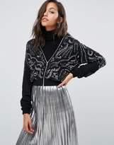 Miss Selfridge Embellished Bomber Jacket