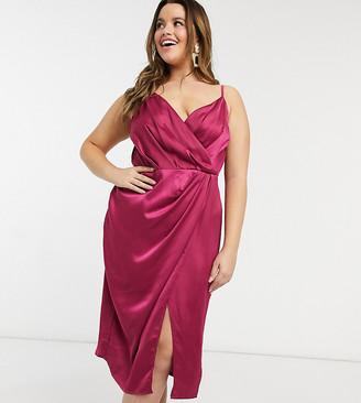 Little Mistress Plus wrap satin midi dress in berry