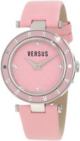 Versus By Versace Women's Crystal-Accented Stainless Steel Watch with Genuine Leather Watch