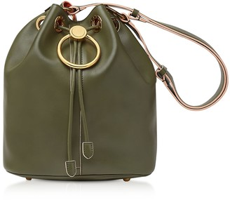 Marni Earring Leather Drawstring Bucket Bag