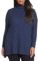 Sejour Mock Neck Rib Knit Tunic (Plus Size)