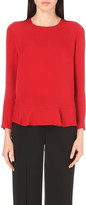 Diane von Furstenberg Galia silk ruffled-hem top