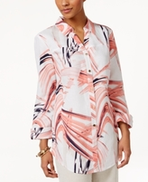 JM Collection Petite Printed Button-Up Shirt, Created for Macy's