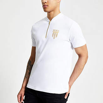 River Island White slim fit MCMLX baseball neck polo shirt