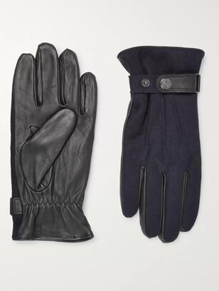 Dents Guildford Melange Flannel and Leather Gloves - Men - Blue